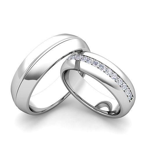 this matching wedding bands from my love wedding ring showcase a comfort fit wedding ring for men in platinum and a matching diamond wedding ring for her - Rings Wedding