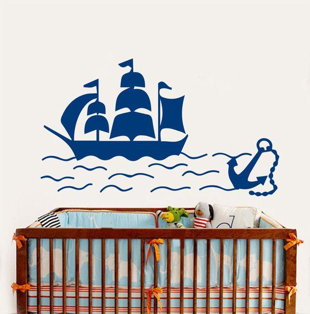 Корабль Стены Винила Наклейка Корабль Лодка Якорь Море Морских Детская Комната Росписи Декора Дома Стикера Стены Мальчики Спальня Украшения Дома
