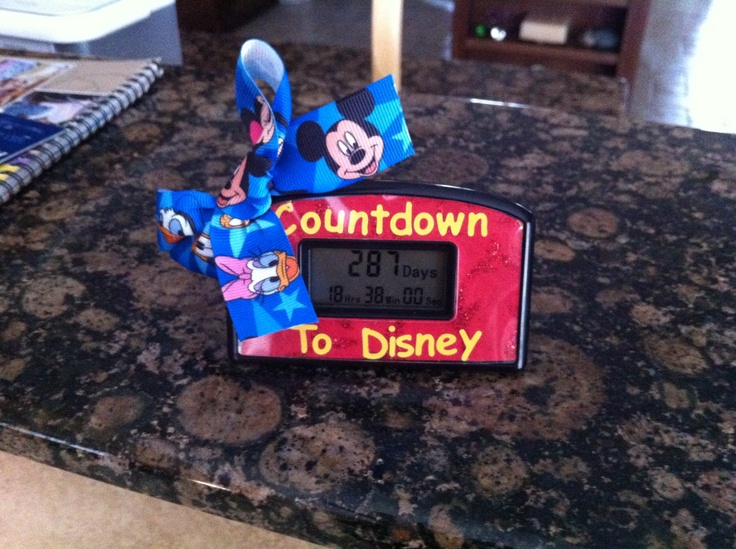 This pinner bought a retirement countdown clock on Amazon and then put a Disney design on it and set it to count down to their trip. Clever!