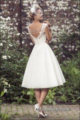 111 elegant tea length wedding dresses vintage (55)