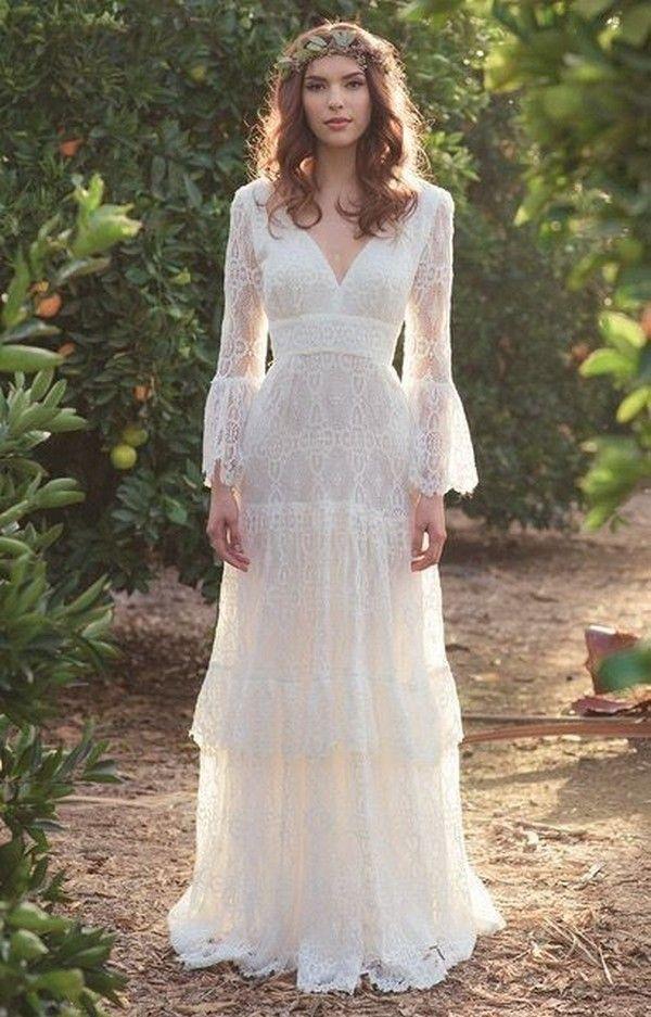 20 Gorgeous Boho Wedding Dresses To Get Inspired Emmalovesweddings Hippie Bride Bohemian Wedding Dresses Trendy Wedding Dresses