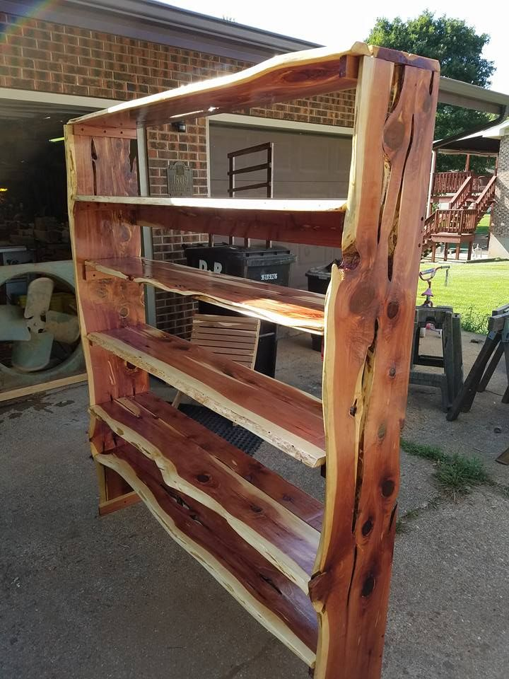 Live edge wood bookshelf