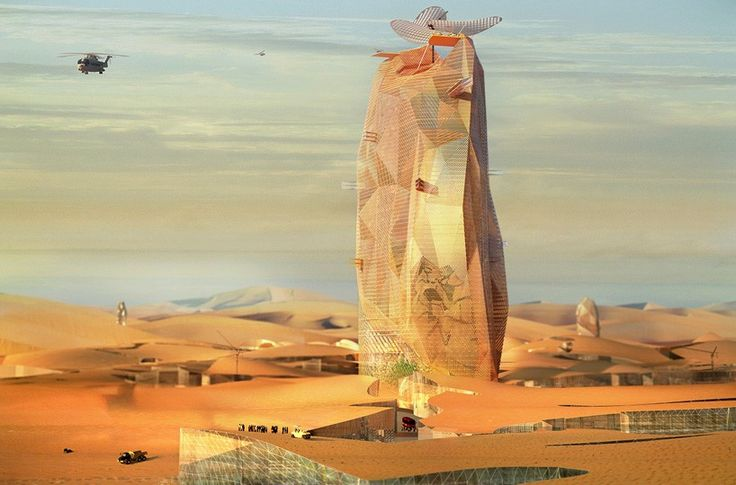 OXO architectes + nicolas laisné propose vertical city for sahara desert   configured to deal with the demands of the sahara desert, this conceptual project is imagined as a vertical city towering above the vast wilderness. designed by french practices OXO architectes and nicolas laisné associés, the building contains a mixed-use program, including a hotel, housing, dining facilities and a meteorological observatory.