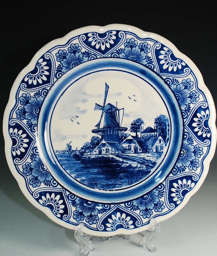 Delft Blue Plate with Crown and Cross Mark--Hand Painted ... Dutch Windmill Painting