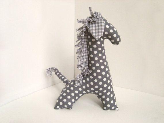 Stuffed giraffe - Grey nursery decor - Baby shower gift - Handmade toy stuffed animal - Plushie - White polka dot on grey plush giraffe