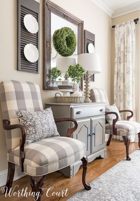Farmhouse Dining Room Makeover - Martha Washington style chairs recovered with gray and white buffalo check fabric