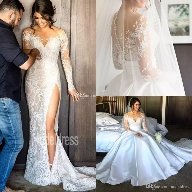 2017 New Split Lace Steven Khalil Wedding Dresses With Detachable Skirt Sheer Neck Long Sleeves Sheath High Slit Overskirts Bridal Gown 2016 Designer Gown Discount Bridal Gowns From Modeldress, $157.5| Dhgate.Com
