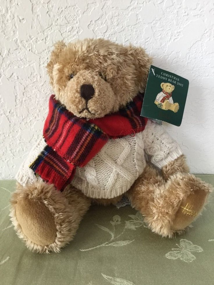 Nice Harrods Christmas Bear 2002 Aran Sweater Tartan Scarf 8 Inches 22 Cm Pictures Gallery