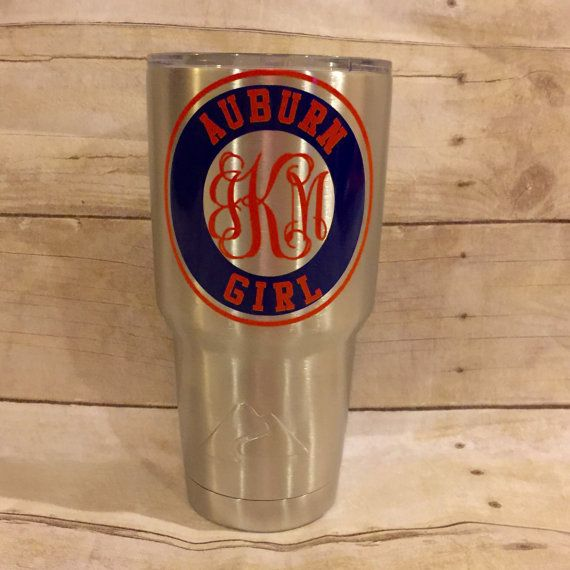 Are you an Auburn Tiger Girl? Then you need this decal on your Yeti or anything else you might want to put it on. Auburn Girl can be altered if you have another favorite Auburn quote or cheer. Select 4 - If needing a Yeti Decal - Please select Small is 4 which fits the 30 oz yeti cup. Can be made smaller for smaller versions. Smaller sizes must be noted at time of order. Select 5-10 - Larger sizes also available for a car window or notebook or planner. Note: Cup Pictured is NOT included…