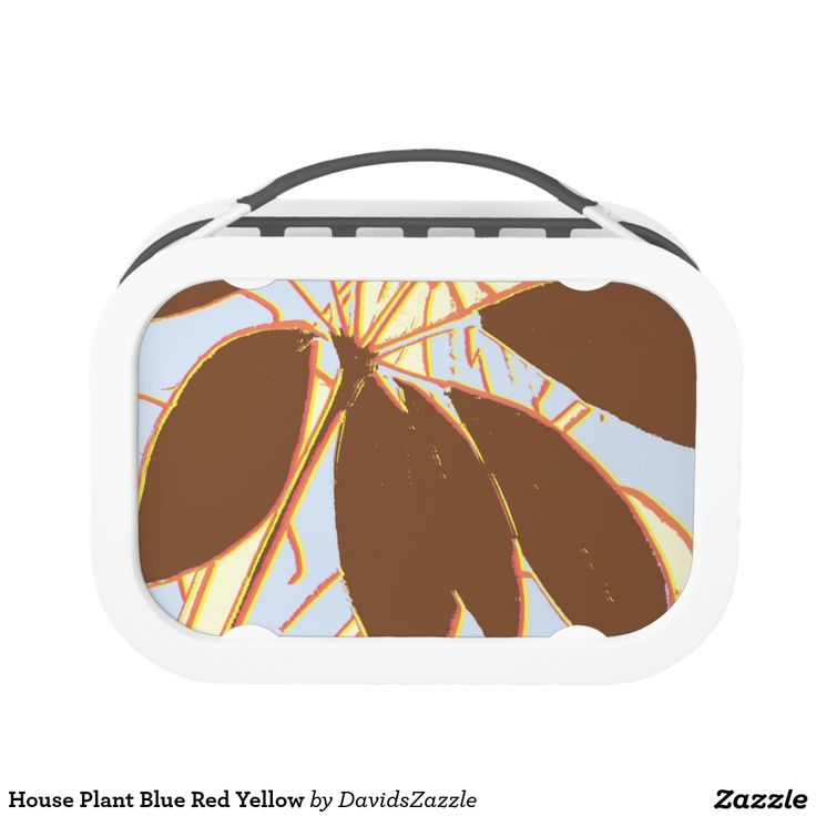House Plant Blue Red Yellow Lunch Box  Available on more products, type in the name of this design in the search bar on my products page to view them all!  #plant #house #leaf #stem #yellow #brown #red #green #pattern #print #all #over #abstract #plant #nature #earth #life #style #lifestyle #chic #modern #contemporary #home #decor #kitchen #dining