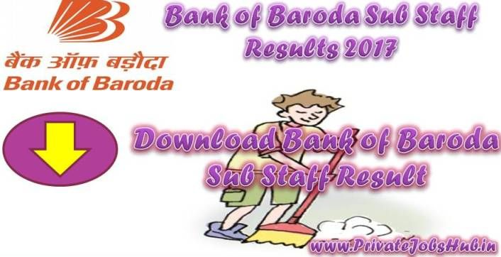 Check Bank of Baroda Sub Staff Results here!!!! Online test was conducted by the recruit board to hire eligible contenders for the Posts of Sub Staff (Sweeper cum Peon). The Bank Of Baroda Sub Staff exam was held from 15-02-2017 to 28-02-2017.