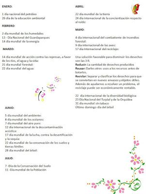 MAESTRA ERIKA VALECILLO: EFEMÉRIDES AMBIENTALES