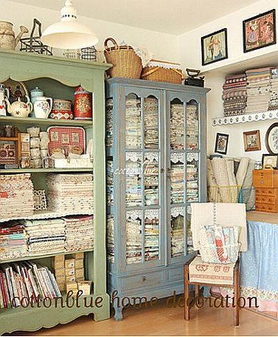 beautiful cabinets for storing quilts, sewing supplies, etc.