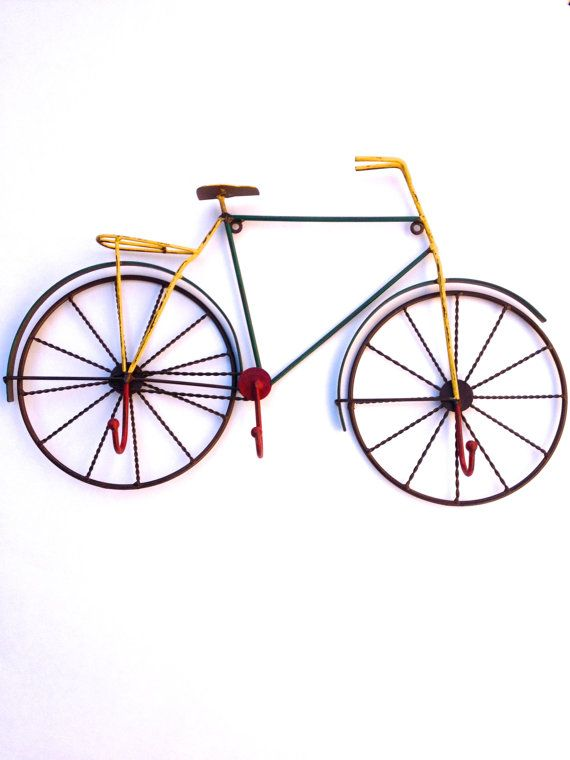 Iron bicycle with hooks cruiser bike wall decor by for 70 bike decoration