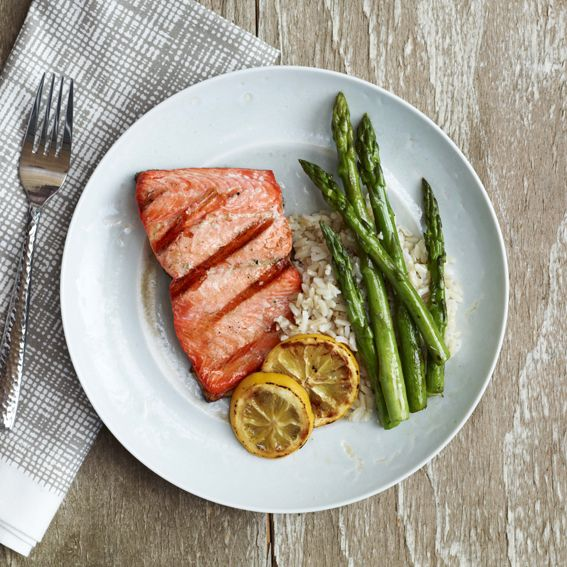 What I Eat in an Average Day: From Lea Michele's Brunette Ambition - Dinner: Salmon and Asparagus