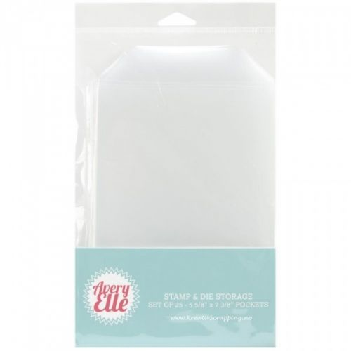 AVERY ELLE - DIE & STAMP - STORAGE POCKETS - 25stk Oppbevaring forDIES & STEMPLER.Pakken inneholder 25 stk. AVERY ELLE-Stamp & Die Storage Pockets. This is a great way to store your clear photopolymer stamp sets and steel dies! Each pocket will fit one standard 4X6 inch clear stamp set or two 4X3 inch clear stamp sets. Store the pockets in a CD/DVD storage basket or clip them up. This package includes twenty-five 5- 5/8X7-3/8 inch pockets and a flap on each that tucks in to keep your…