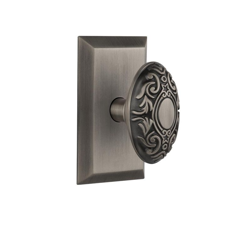 Studio Plate 2-3/4 in. Backset Antique Pewter Privacy Victorian Door Knob
