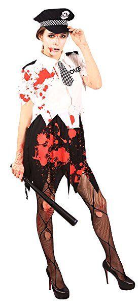 ,Karneval Klamotten' Kostüm blutige untote Polizistin Zombiekostüm Damen Halloween Karneval Horror Damenkostüm Größe 40/42