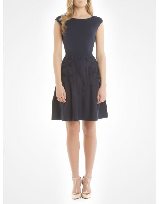 Flare dress with pleated skirt - Blue Work dresses