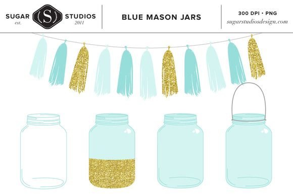 Blue Mason Jars with Tassel Clip Art by SugarStudios on @creativemarket