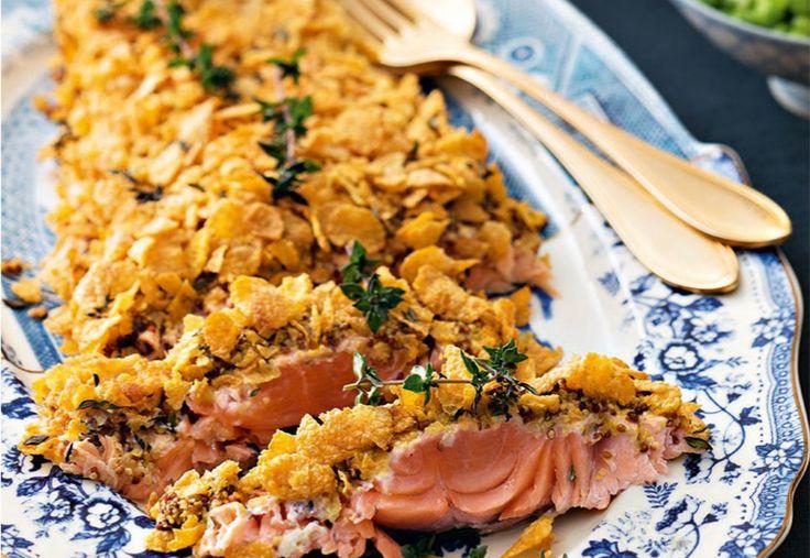 Filetto di salmone alla senape in crosta di mais