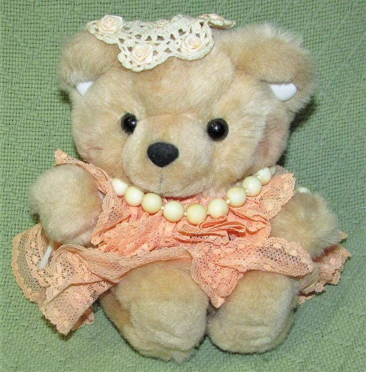 """Musical TEDDY BEAR Wind Up YOU ARE MY SUNSHINE 8"""" Animal Tan Peach Lace Dress  #unmarkednotags"""