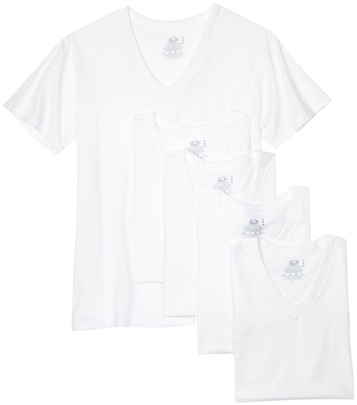 Fruit of the Loom Men's V-Neck Tee (Pack of 5) at Amazon Men's Clothing store: Novelty T Shirts
