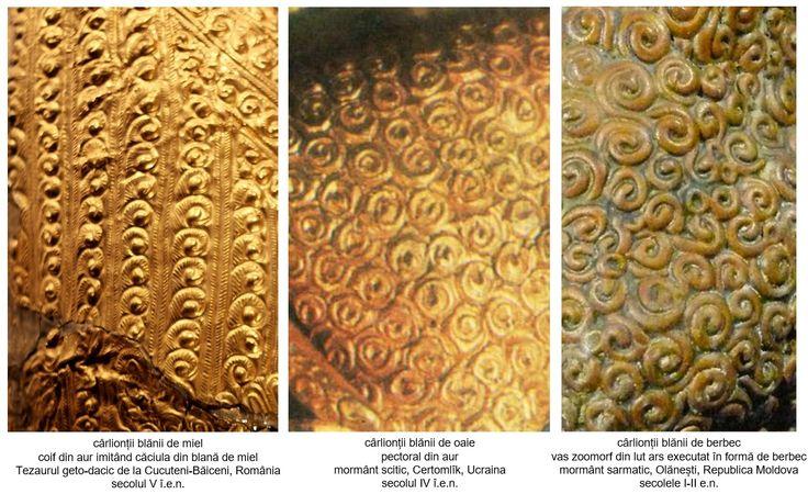 Cârlionții blănii de miel/oaie/berbec, reprezentați în metal (aur) și ceramică.
