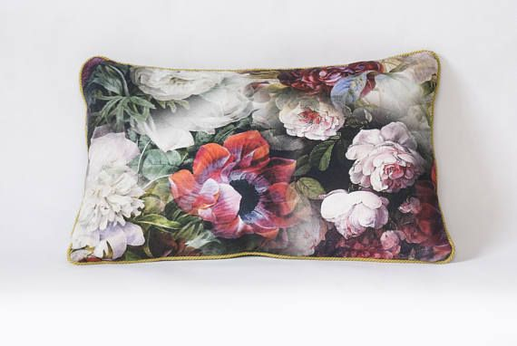 Unique large cushion with colorful flowers dahliasroses