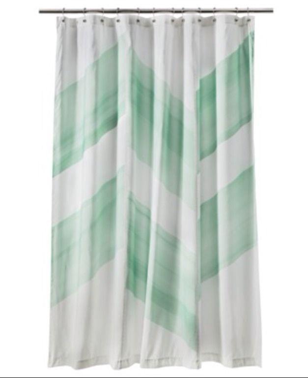 Nate Berkus Color Block Mint Green Shower Curtain New