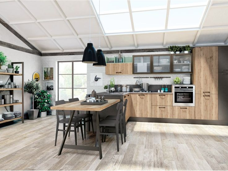 Fitted kitchen with peninsula KYRA VINTAGE by CREO Kitchens by Lube