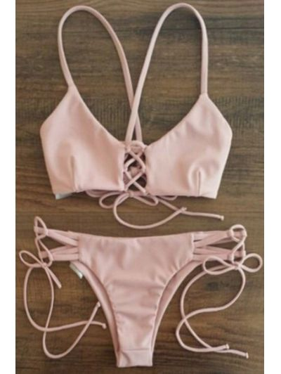 Spaghetti Strap Lace-Up Pink Bikini Set PINK: Bikinis | ZAFUL