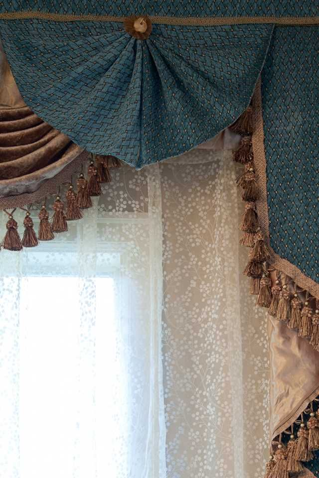 Blue Salon swag valances curtain drapes 50''