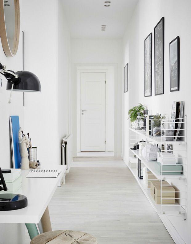 white nordic interior workspace string shelves