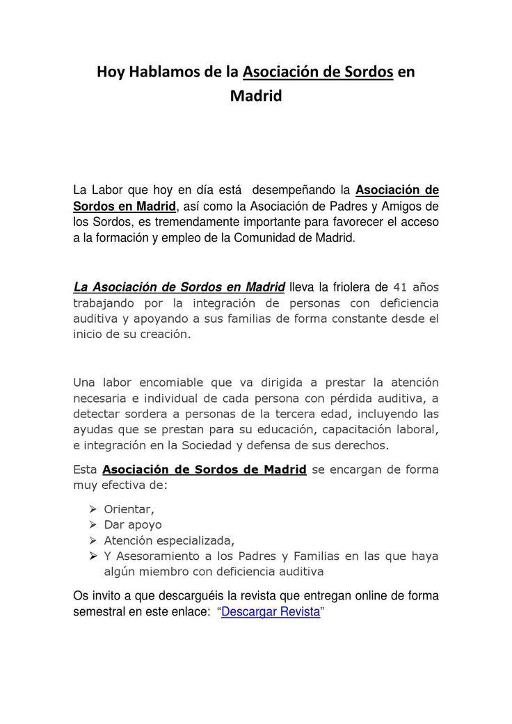 Asociación de sordos | Asociacion de Sordos Madrid