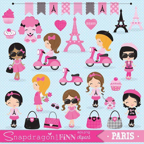 Paris Girl clipart Paris clipart Shopping by snapdragonandfinn