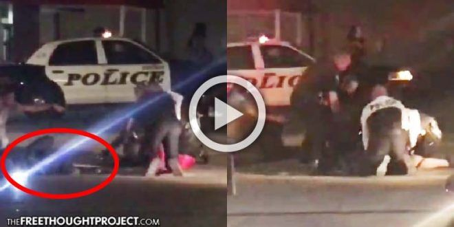 WATCH: Cop Allegedly Tasers Herself, Then 6 Cops 'Rodney King' a Man Lying Down