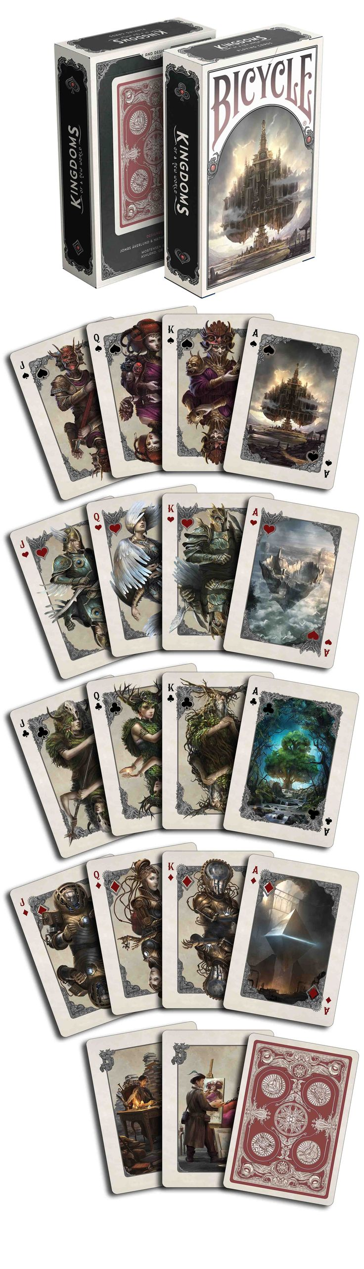 Kingdoms of a New World playing cards published by Albino Dragon. Each of the suits in this deck is for a different Kingdom. This art is beautiful. Now Available on www.albinodragon.com