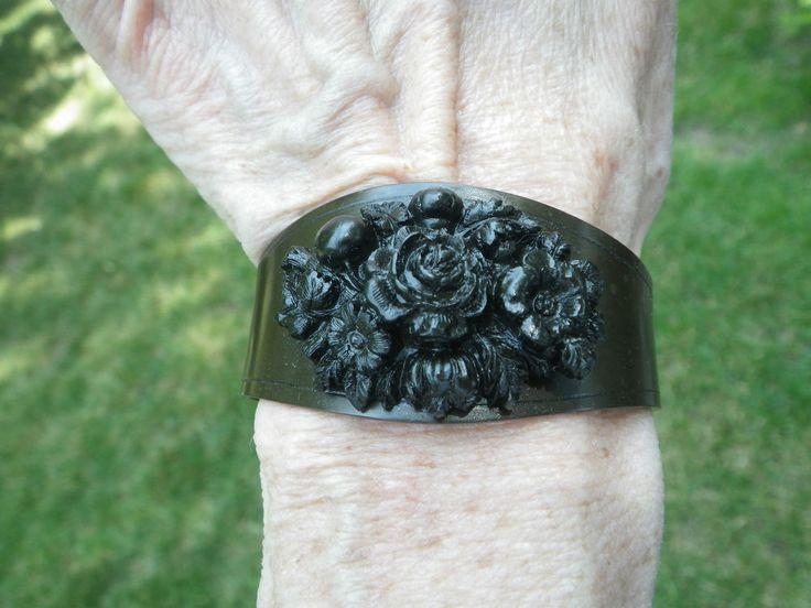 Victorian Gutta Percha Floral Bracelet in High Relief civil war era fashion