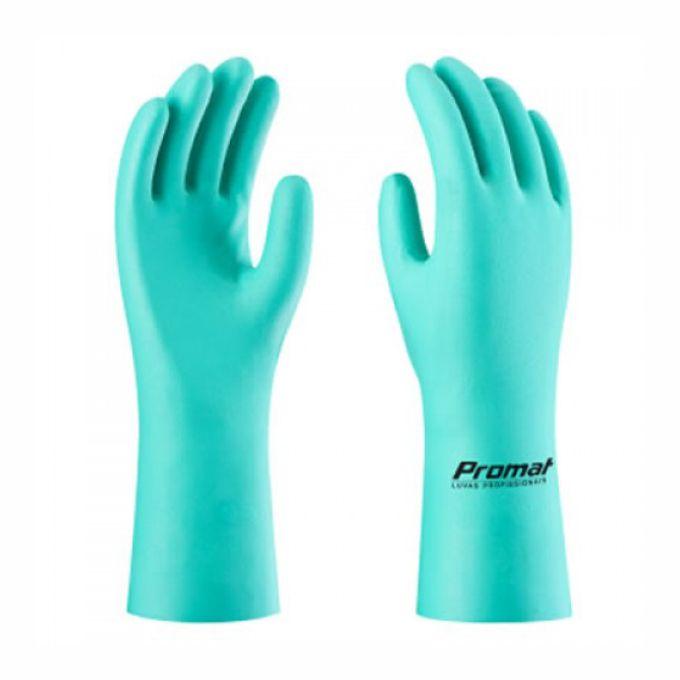 Fabricante: PROMAT   Tamanhos Disponíveis: P, M, G e XG  Descrição:  Luva de segurança confeccionada em borracha nitrílica, flocada internamente; acabamento antiderrapante na palma, face palmar dos dedos e ponta dos dedos.