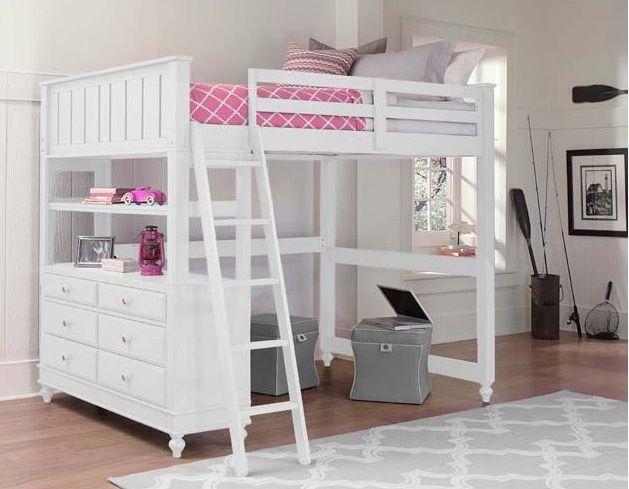Hillsdale Furniture Lake House Twin Loft Bed In White 1040n Promo In 2020 Twin Loft Bed Loft Bunk Beds Kids Loft Beds