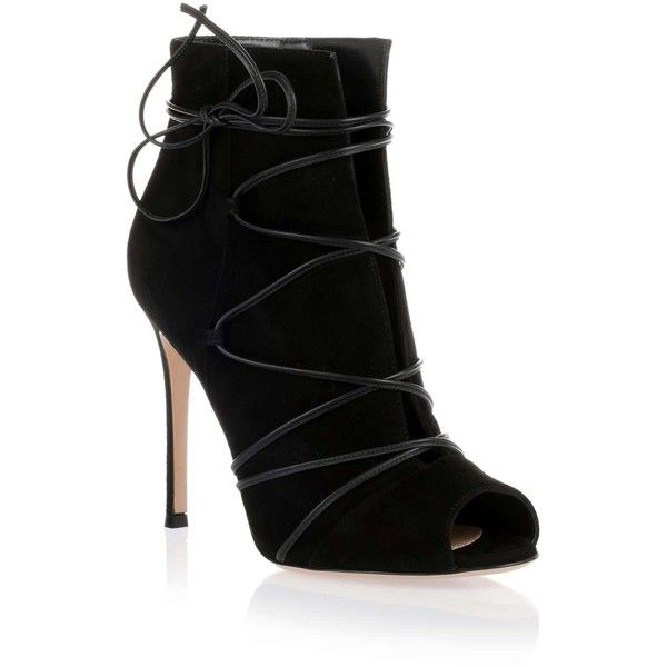 Gianvito Rossi Elle black suede wrap-around bootie (7.250 DKK) ❤ liked on Polyvore featuring shoes, boots, ankle booties, black leather boots, ankle boots, black leather ankle booties, black ankle boots and short black boots