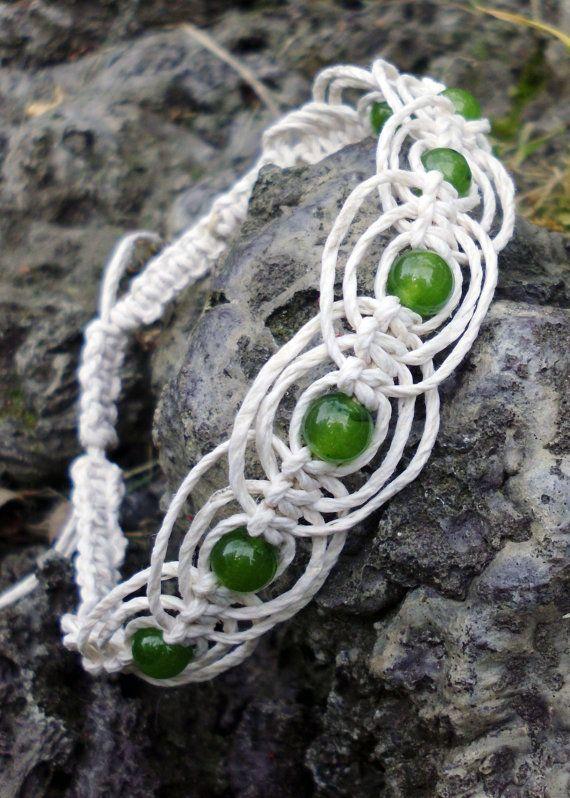 Jade Macrame Anklet Gypsy hemp jewelry by DemetersLoveAffair. Pretty!