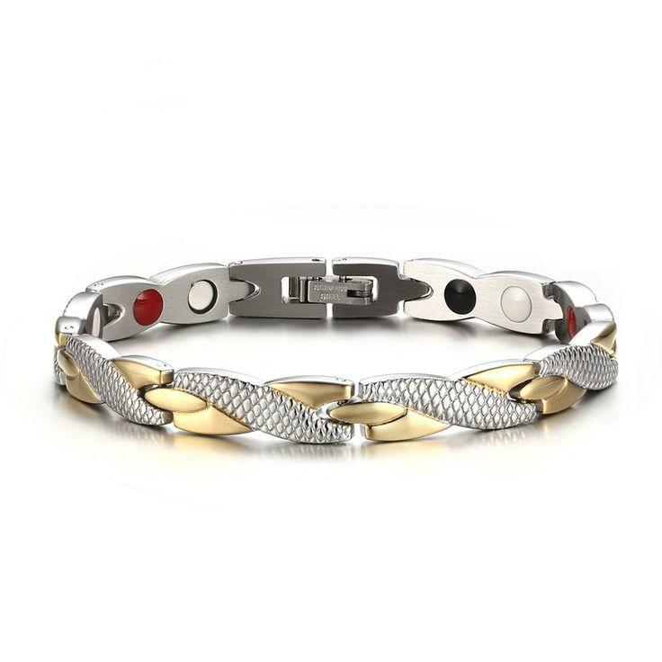 Bracelet Men Health Energy Magnetic Negative Ion Germanium Bracelet Men Jewelry Chain Link Stainless Steel Bracelets & Bangles #Affiliate