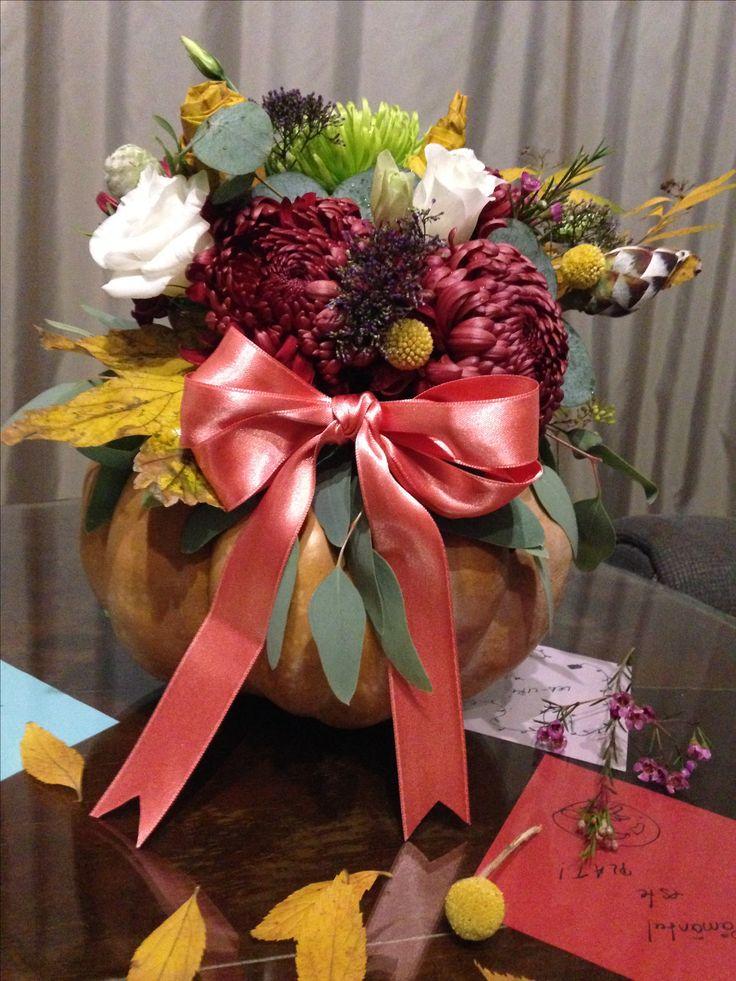 Pumpkin flowers arrangement (made by me)