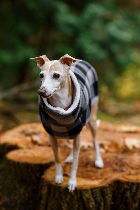 Italian Greyhound Grey Black Lumberjack Check Fleece by HappyIggy