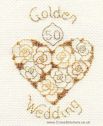 Golden Wedding Anniversary Greetings Card Cross Stitch Kit from Derwentwater Designs