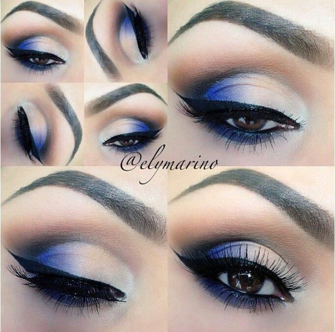 Pop of blue eyeshadow