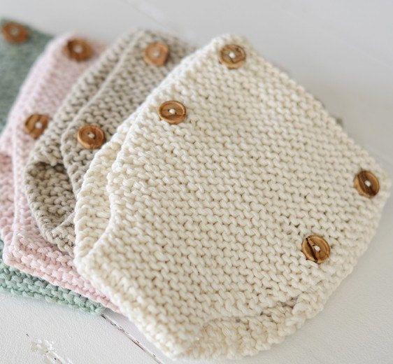 Patrón de punto para principiantes bebé cajones patrón aprender a pañal cubierta DIY bragas recién nacido bebé orgánico ropa del Knit