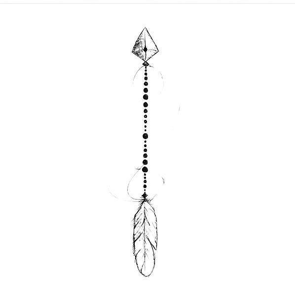 A small arrow tattoo sketch in fine line style. Style: Fine Line. Color: Black. Tags: First, Easy